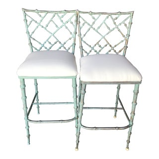 Vintage Faux Bamboo Kessler Barstools-Pair For Sale