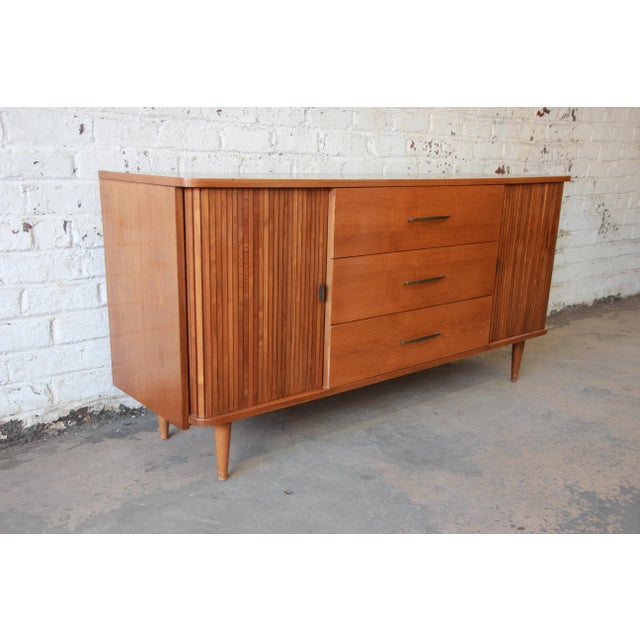 Glass Mid-Century Modern Tambour Door Sideboard Credenza with Glass Front Hutch Top For Sale - Image 7 of 11