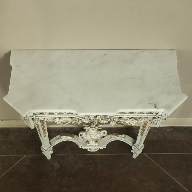 19th Century Swedish Neoclassical Marble-Top Painted Console For Sale - Image 4 of 12