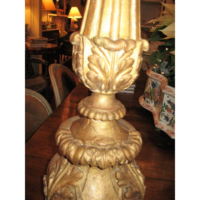 19th Century Gilt Wood Candlestick For Sale - Image 4 of 10