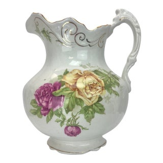 Antique Buffalo Pottery Floral Pitcher For Sale