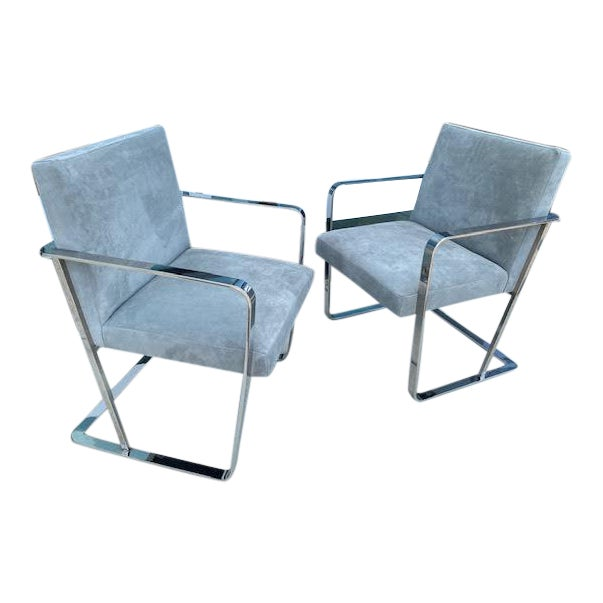 Pair of Vintage Chrome Chairs, Newly Recovered in Hide For Sale