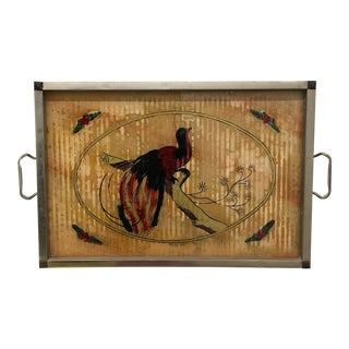 Tray - Vintage Bird Motif Illustrated Tray For Sale