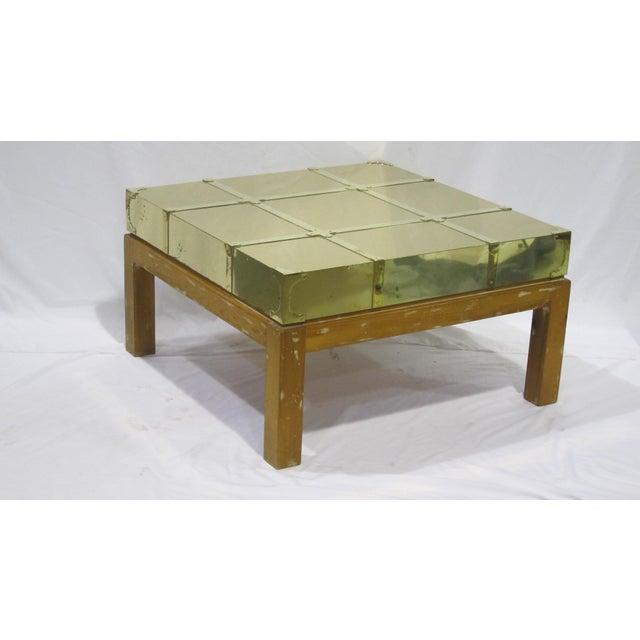 Vintage Sarreid LTD Brass Cocktail Table - Image 2 of 5