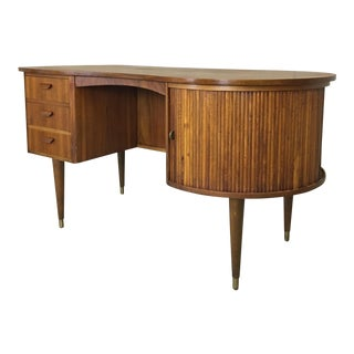 Danish Modern Teak Tambour Desk by Nielsen Tibergaard For Sale