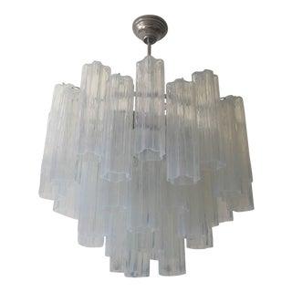 """Venini Style Murano Glass """"Tronchi"""" Opalino Color Chandelier For Sale"""