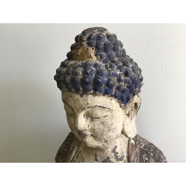 Antique Wooden Carved Buddha Figurine For Sale In Los Angeles - Image 6 of 12
