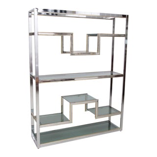 Guy Lefevre Etagere in Chrome and Brass