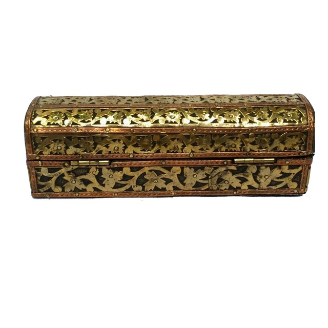 Mhart Gilded Gold Brass Wooden Jewelry Box - Image 3 of 4