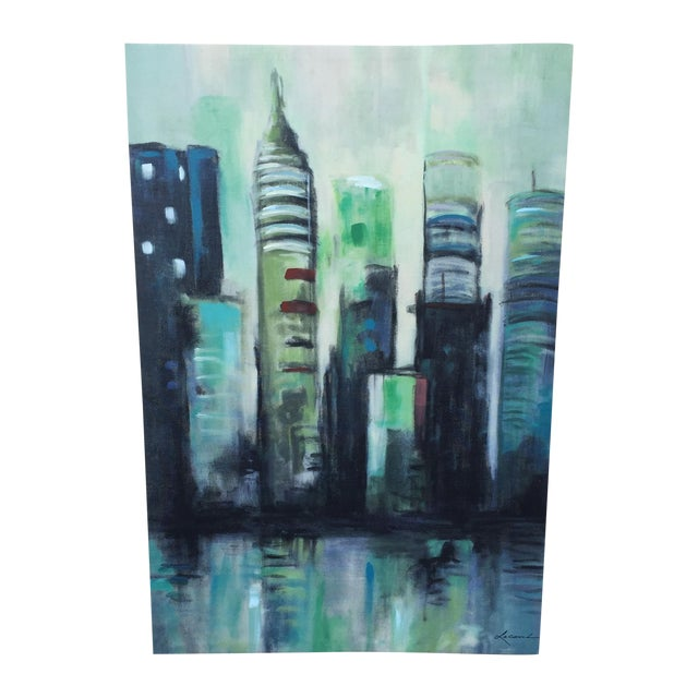 Twilight Cityscape on Canvas - Image 1 of 11