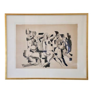 Salvatore Grippi Figural Mixed Media Painting on Paper, Framed For Sale