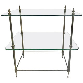 Two-Tiered Glass and Brass Side Table For Sale