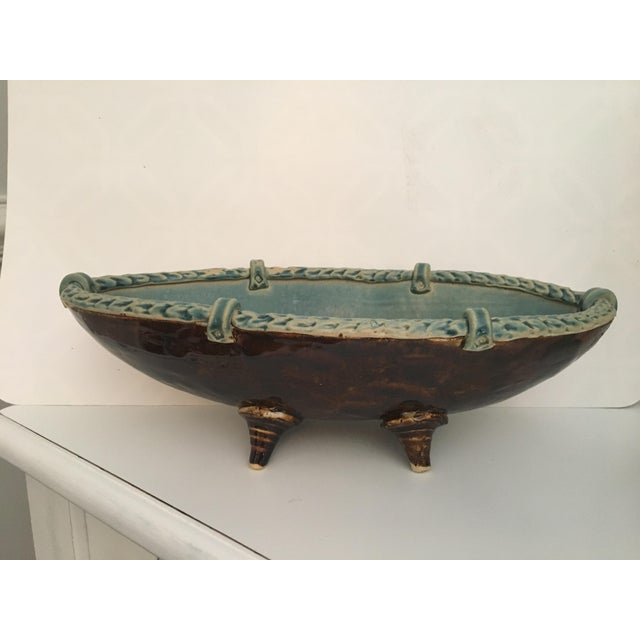 Arts and Crafts Footed Studio Pottery Oblong Bowl - Image 12 of 12