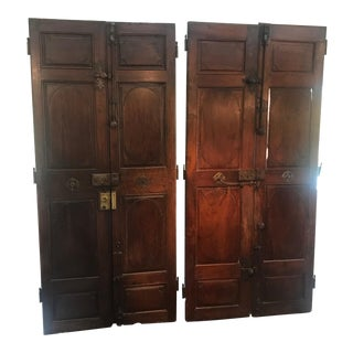 Large Architectural Palatial French Walnut Doors -2 Pairs For Sale