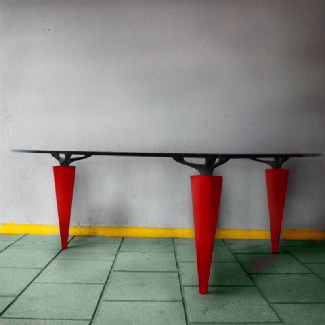 1991 Isao Hosoe for Cassina Italia 'Oskar in Red Leather' Table - Image 2 of 7