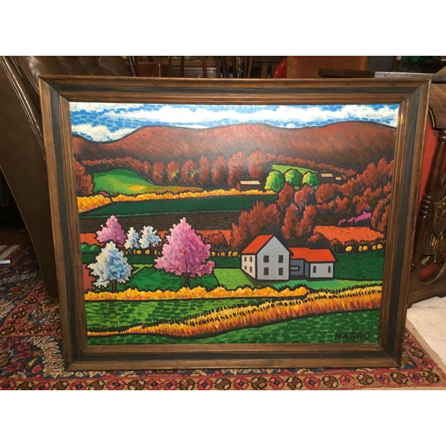 """Oil on canvas painting of fall farmhouse landscape. Signed Magro. 33.5"""" x 27.25"""" x 2"""""""