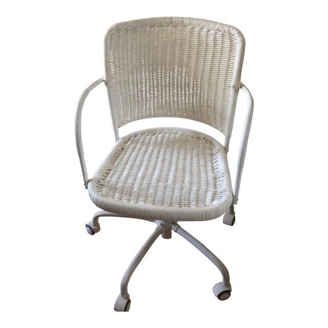 White Wicker Rolling Desk Chair