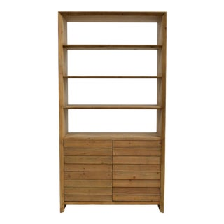 Rustic Modern Open Bookcase With Louvered Doors For Sale