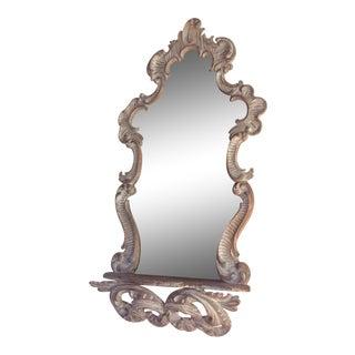 Vintage Italian Rococo Mirror With Shelf For Sale