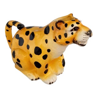 Cheetah Leopard Ceramic Pitcher Vintage For Sale