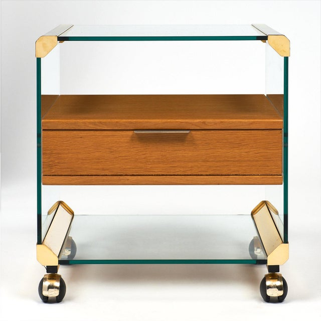 Mid-Century Modern Brass and Glass Modernist Side Table For Sale - Image 3 of 10