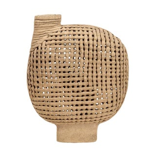 Interwoven Stoneware Vessel For Sale