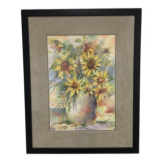 """Gayle Rappaport-Weiland """"Sunflowers"""" Watercolor Painting For Sale"""