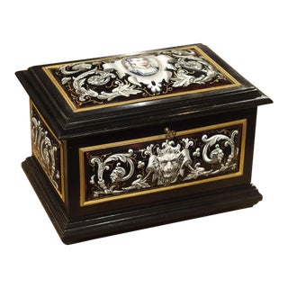 Antique Enameled Copper and Wood Table Box by Alphonse Giroux Paris, Circa 1850 For Sale