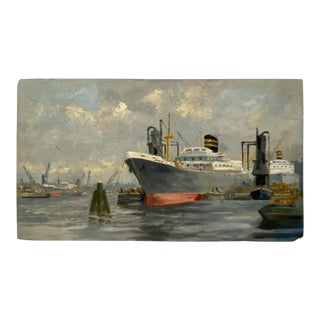 """Vintage """"Ship Yard"""" Oil Painting C.1940s For Sale"""