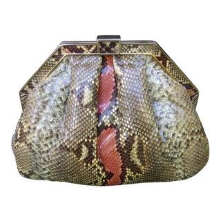 Saks Fifth Avenue Sleek Italian Python Handbag C 1980s For Sale