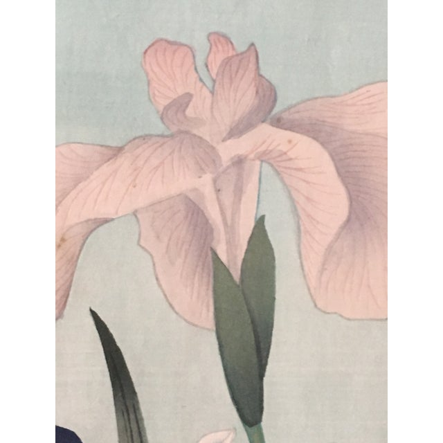 "Mid-Century Modern 1949 ""Iris"" Woodblock Print by Bakufu Ohno, Framed For Sale - Image 3 of 10"