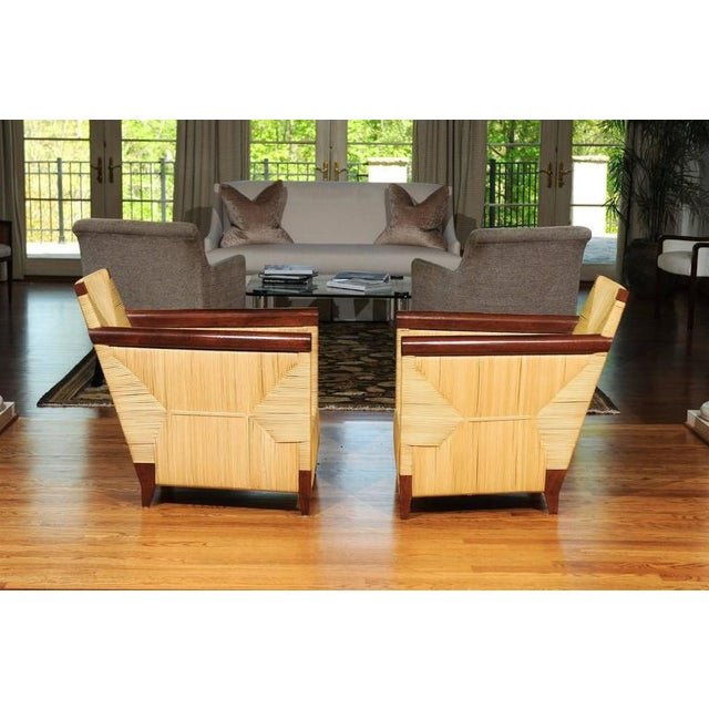 Mahogany Superb Pair of Mahogany and Wicker Loungers by John Hutton for Donghia For Sale - Image 7 of 11