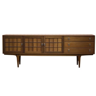 Mid-Century Modern 7ft Teak Credenza Sideboard / Tv Console