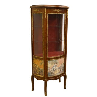 1920's French Wooden Curio Cabinet with Painted Canvas Scenes For Sale