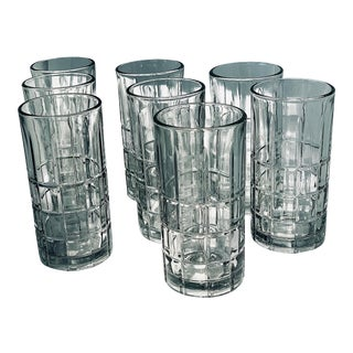 Vintage 'Anchor Hocking' Cut Glen Plaid Highball Glasses - Set of 8 For Sale