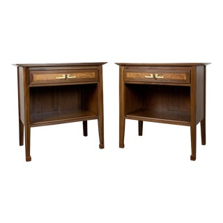 1960s Mid-Century Modern White Furniture Company Refinished Nightstand Set - a Pair For Sale