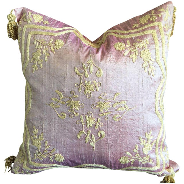 Silk Hand-Embroidered Dori Pillow Cover - Image 1 of 5