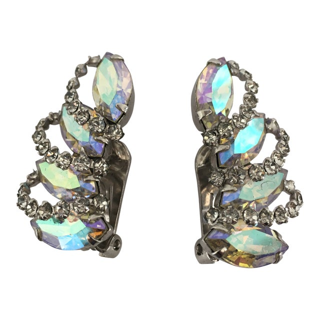 Vintage Weiss Rhinestone Clips - a Pair For Sale