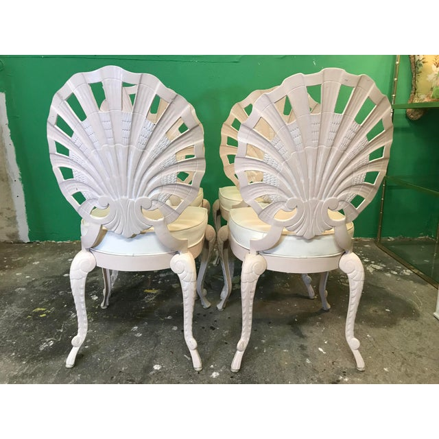 Hollywood Regency Vintage Palm Beach Regency Pink Brown Jordan Grotto Shell Back Chairs-Four For Sale - Image 3 of 13