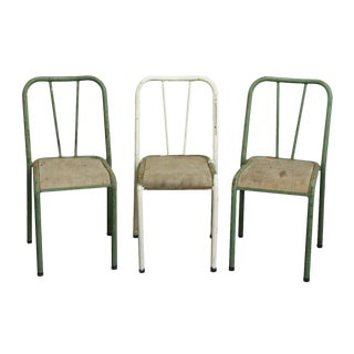 Reclaimed Imported Green & White Steel School Chairs - Set of 3 For Sale