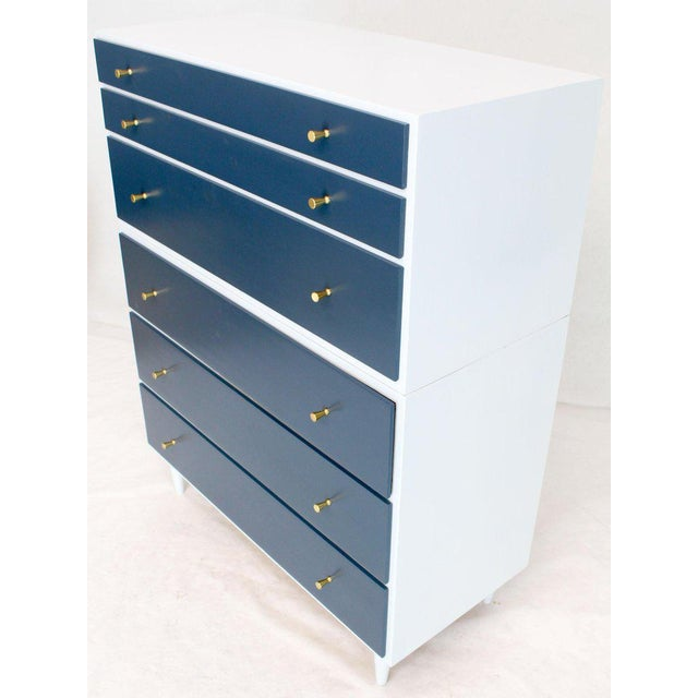 White and Blue High Chest on Chest Two Pieces McCobb Dresser Cabinet Six Drawers For Sale - Image 11 of 12
