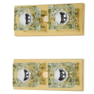 Pair of Mid-Century Modern Brass and Glass Cube Sconces by Gaetano Sciolari For Sale