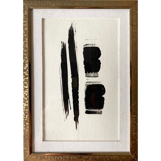 Original Abstract Black and White Painting, Framed For Sale