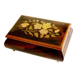Vintage Italian Burl Elm Floral Marquetry Wood Footed Jewelry Music Box For Sale