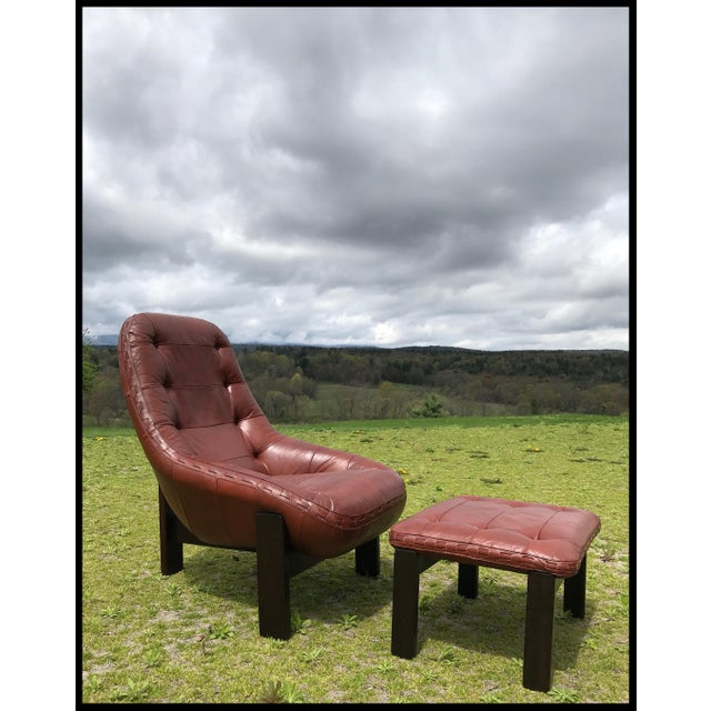 Rare Jean Gillon Rosewood Leather Lounge Chair Ottoman Probel Brazilian For Sale - Image 11 of 11