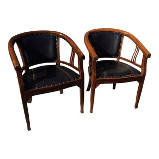 1940s Vintage Barrel Back Oak and Leather Library Style Chairs- A Pair For Sale
