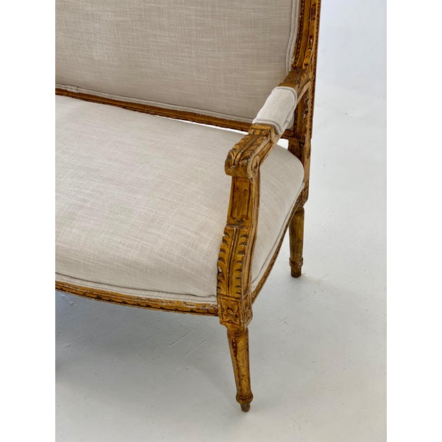 Late 19th Century 19th Century Gilt Wood Settee For Sale - Image 5 of 10