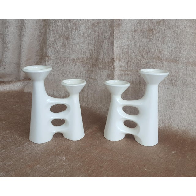 Vintage Modernist Ceramic Candle Holders - A Pair - Image 3 of 9