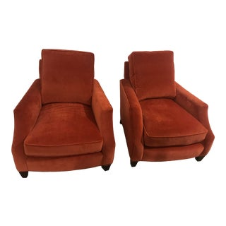 Velvet Occasional Club Chairs - A Pair For Sale