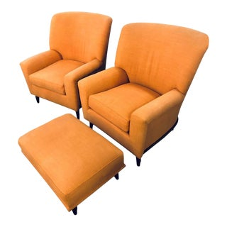 Art Deco Style A. Schneller & Sons Armchairs With Ottoman - Set of 3 For Sale